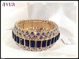Lia Sophia MODELINA stretch bracelet w cut crystals & dark gray stones N... - $37.62