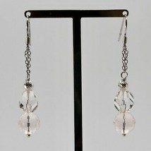 Silver Earrings 925 Rhodium Hanging Pink Quartz Faceted and Crystal image 2