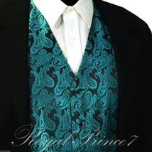 Mermaid Teal Green Paisley Tuxedo Suit Dress Vest Waistcoat Formal Wedding - $20.77+