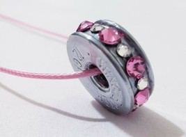 12 gauge shotgun bullet slice rose pink/clear Swarovski crystals necklace  - $24.75