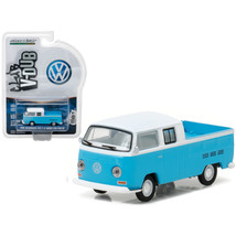 1968 Volkswagen Type 2 T2 Crew Cab Pickup White and Blue 1/64 Diecast Model Car  - $12.46