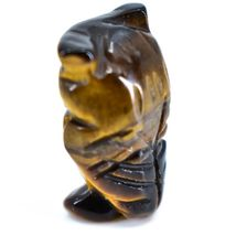 Tiger's Eye Gemstone Tiny Miniature Owl Figurine Hand Carved in China image 3