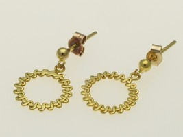 9 Carat Gold Vintage Textured Circle Earring Small Drops 10 mm Diam. - $29.20