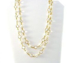 Pearl Crystal Necklace, Faux white Pearls, Clear Glass, Long, Gold Tone,... - $22.00