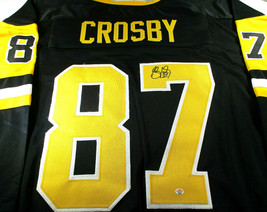 SIDNEY CROSBY / AUTOGRAPHED PITTSBURGH PENGUINS BLACK CUSTOM HOCKEY JERSEY / COA image 1