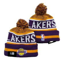 NEW ERA NBA Los Angeles Lakers On field Sideline Beanie Winter Pom Knit Cap Hat - $14.35