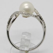 18K WHITE GOLD BAND PEARL ZIRCONIA RING ONDULATE, WAVE, BRAIDED, MADE IN ITALY image 2