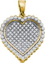 10k Yellow Gold Round Diamond Concave Heart Cluster Fashion Pendant 1/2 Ctw - $395.00