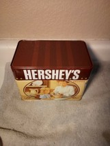 HERSHEY'S KISSES  RECIPE BOX WITH RECIPES--TIN--COOKIES / CAKES---FREE S... - $24.47