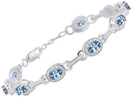 Stunning Blue Topaz and Diamond Tennis Bracelet Set in Sterling Silver -... - $961.31