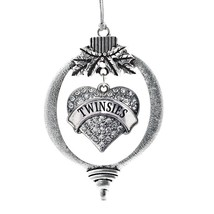 Inspired Silver Twinsies Pave Heart Holiday Decoration Christmas Tree Or... - $14.69