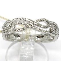 18K WHITE GOLD BAND RING, DIAMONDS CT 0.33, CROSSED INFINITE, BRAID, ONDULATE image 1