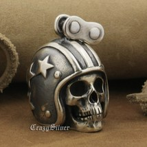LINSION 925 Sterling Silver Motorcycle Helmet Skull Mens Punk Pendant Necklace image 4