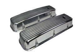 BBC BIG BLOCK CHEVY TALL FINNED POLISHED ALUMINUM VALVE COVERS 396 427 454 image 3