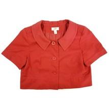 Ann Taylor Blazer Size 10 Womens Loft Short Sleeve Jacket Coat Red - $18.73
