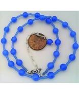 Dark sapphire opal glass necklace thumbtall