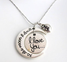 I love You To The Moon And Back Necklace, Moon Heart Necklace,Moon neckl... - $14.50