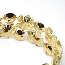 18K YELLOW GOLD BRACELET, RIGID, BANGLE, FINELY WORKED FLOWERS, CABOCHON STONES image 5