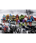 Marvel & DC  Superheroes Lunch Atop A Skyscraper - Art Print/Poster - $19.99+