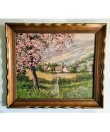 Laszlo Neogrady Spring Cherry Blossom Trees Landscape Glass Framed Art P... - $44.99