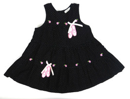 Rare, Too! Girls Jumper 4T Black Sleeveless Corduroy Embroidered Ballet ... - $23.75