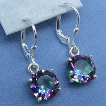 9mm Mystic Topaz Rainbow Topaz Leverback Earrings Sterling Silver Fancy-... - $99.99