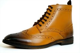 Handmade Men's Tan Burnished Wing Tip Brogue Style High Ankle Lace Up Leathe image 3