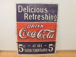 "DELICIOUS REFRESHING- DRINK COCA-COLA 5 CENTS - METAL SIGN 12.5"" x 17"" - $8.59"