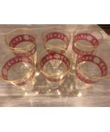 Vintage Cranberry Pink Juice Glasses (6) Stemmed Etched Design Gold Trim... - $32.90