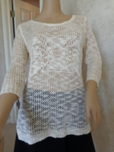 Maurices Knitted Ivory Top ¾ Sleeve Size M (#2941) - $13.99