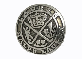 """Ralph Lauren crown silver color metal Replacement sleeve button .60"""" - $3.40"""