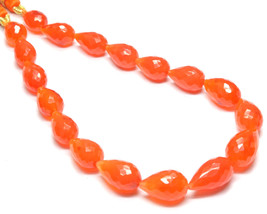 PH-087 Carnelian Straight Drill Drop Faceted Beads 7.5x10mm-9x13.5mm 88C... - $72.26