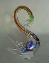 Vintage Art Glass Slender Neck Swan Duck Goose Murano Vibrant Colors - $65.00
