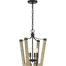 Quoizel PLN5204WT Plains Rustic Wood Lantern Chandelier, 4-Light, 240 Wa... - $110.39