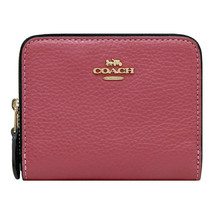 NWT COACH Small Double Zip Around Wallet Coin Card Case Rouge Pink Gold F76752 - $75.24