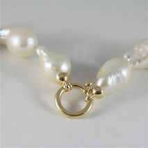 SOLID 18K YELLOW GOLD NECKLACE WITH BIG LUSTER BAROQUE DROP PEARLS MADE IN ITALY image 7