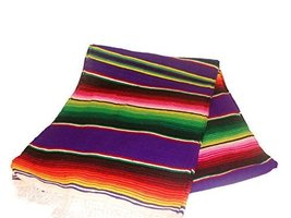 Purple Sarape Style Falsa Blanket Classic Mexican Serape Mat Throw Hand ... - $34.71 CAD