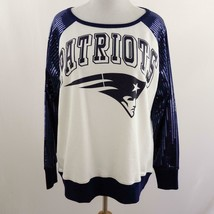 NFL New England Patriots Sequin Sleeves Sweatshirt Womens Sz 2XL - $48.37