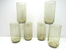 "6 Vintage Libbey Tawny Brown Swirl Optic 5 1/2"" 14 Oz Tumbler Glasses Re... - $39.57"