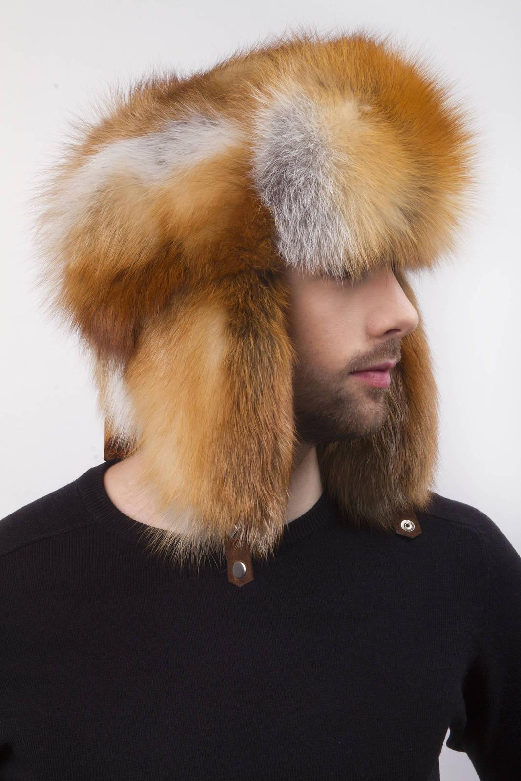 39f5e957 Red Fox Fur Full Trapper Hat for a Men's 22.5'-24' Full Ushanka Hat ...