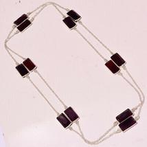 "Pink Amethyst Faceted Garnet Gemstone Fashion Jewelry Necklace 36"" UK-3137 - $5.75"
