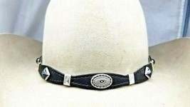 Black HATBAND Scalloped LEATHER w STONE + Silver CONCHOS &Buckle Cowboy ... - €34,74 EUR