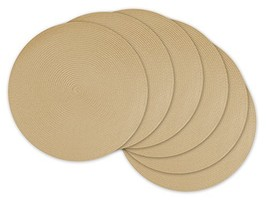 DII Round Braided/Woven, Indoor/Outdoor Placemat/Charger, Set of 6, Natural - $19.73