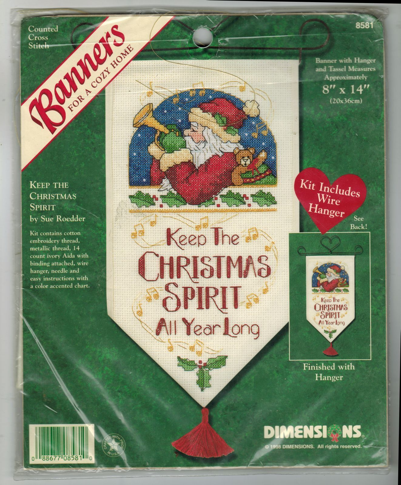 "Primary image for Dimensions Cross Stitch Keep Christmas Spirit All Year Long Banner Kit 8"" x 14"""