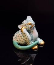 Herend Porcelain Tiger or Lion Cub Figurine, SVHV---15586, Green Fishnet - $165.00