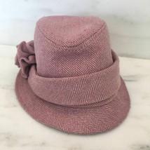 Childrens Place Pink Tweed Ginham Girls Hat M 7/8 Flower Bucket Hat - $19.80