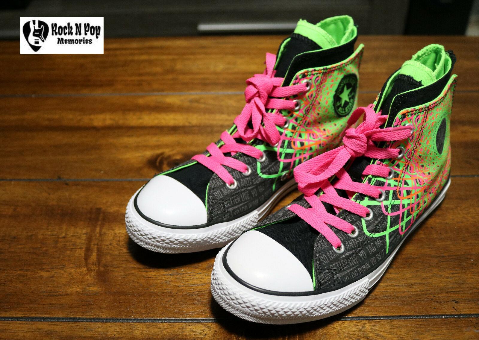 Converse Chuck Taylor All Star Zipback 649963C Black Pink Green Shoes Girls Sz 5