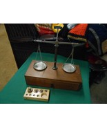 Vintage SCALES OF JUSTICE on Wood Box with Drawer-5 Weights-Made West G... - $88.69