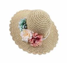 PANDA SUPERSTORE Creative Summer Straw Beach Flowers Girl Hat