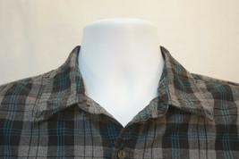 American Eagle Heavy Cotton Black Plaid Button-Front Shirt, Mens Large Slim 9150 - $13.22
